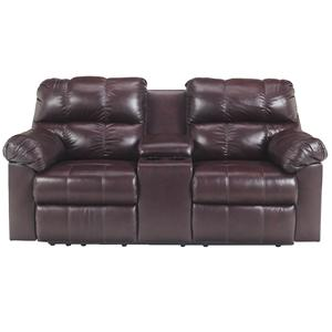 Signature Design by Ashley Kennard - Burgundy Dbl Rec Pwr Love Seat w/Console