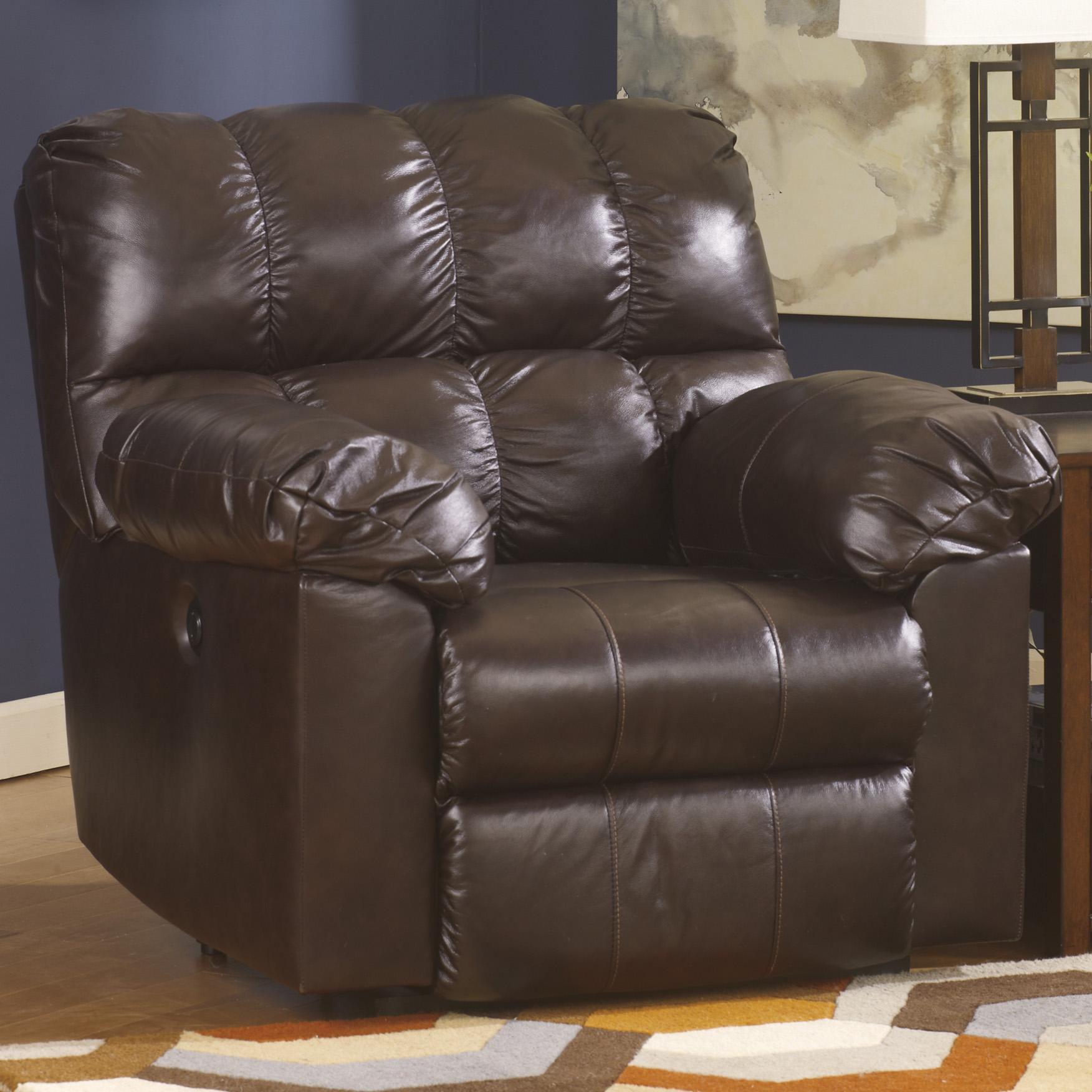 Kennard Chocolate Rocker Recliner With Large Pillow Arms By Signature Design Ashley