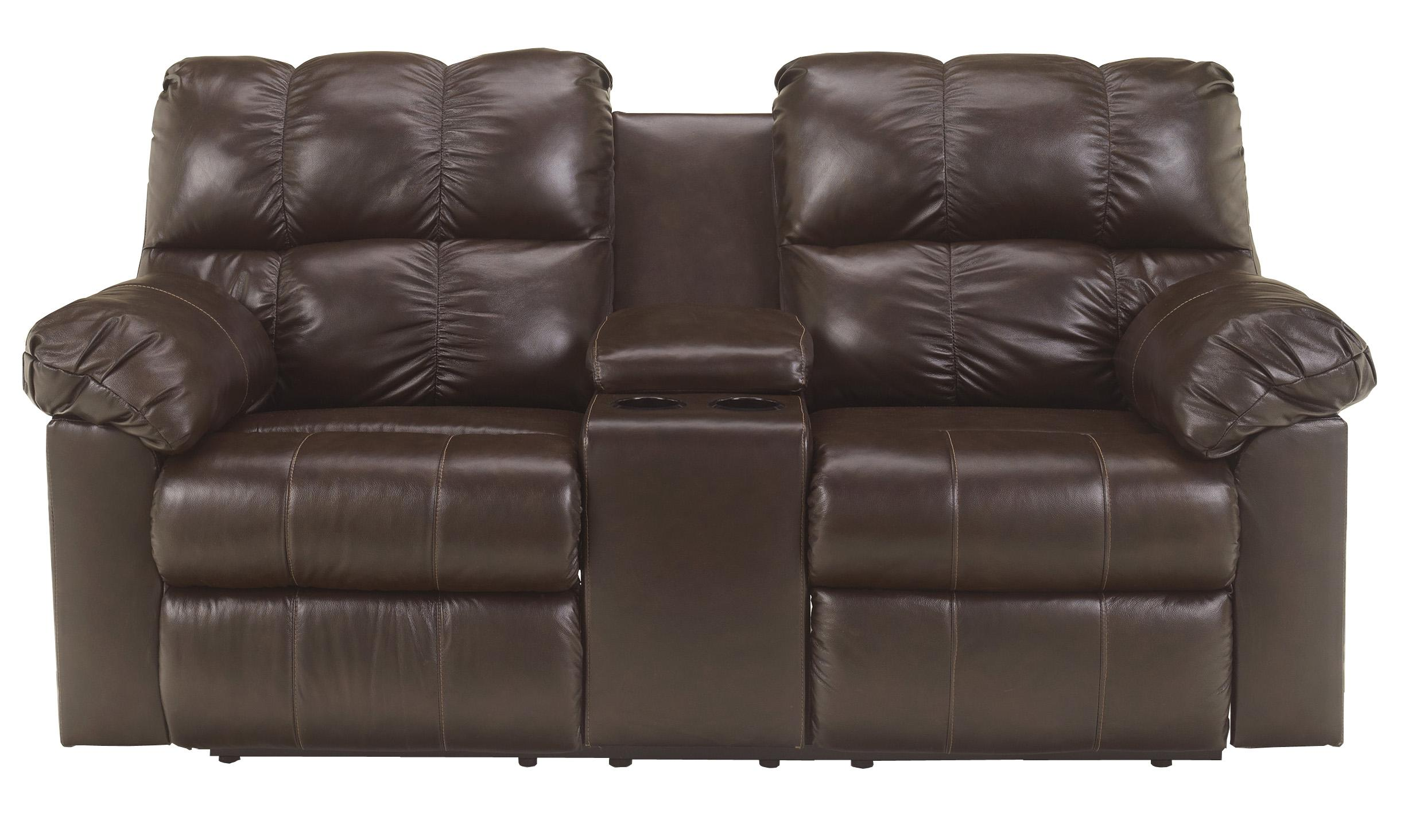 Signature Design by Ashley Kennard - Chocolate Dbl Rec Love Seat w/Console - Item Number: 2900194