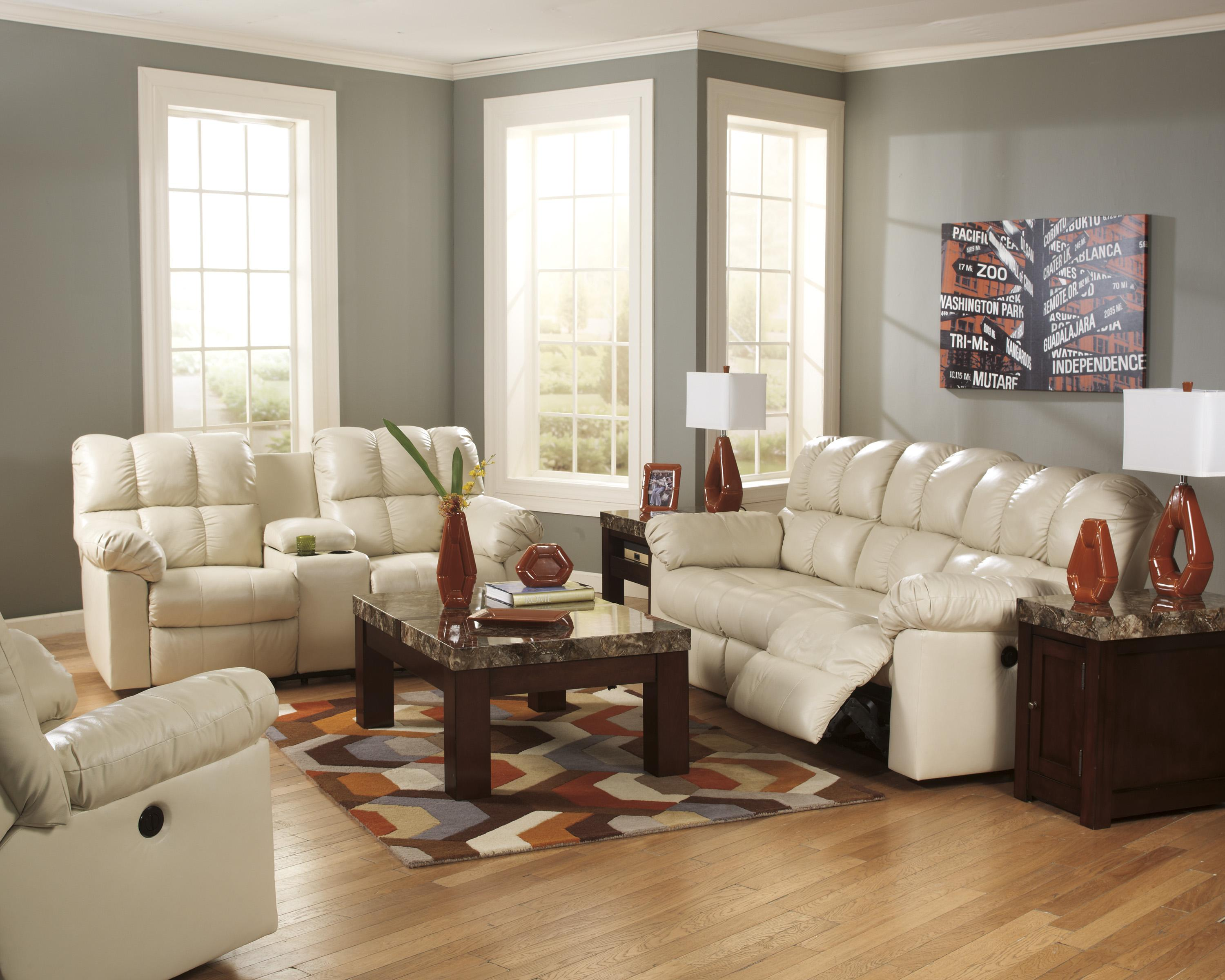 Signature Design by Ashley Kennard - Cream Reclining Living Room Group - Item Number: 29002 Living Room Group 6