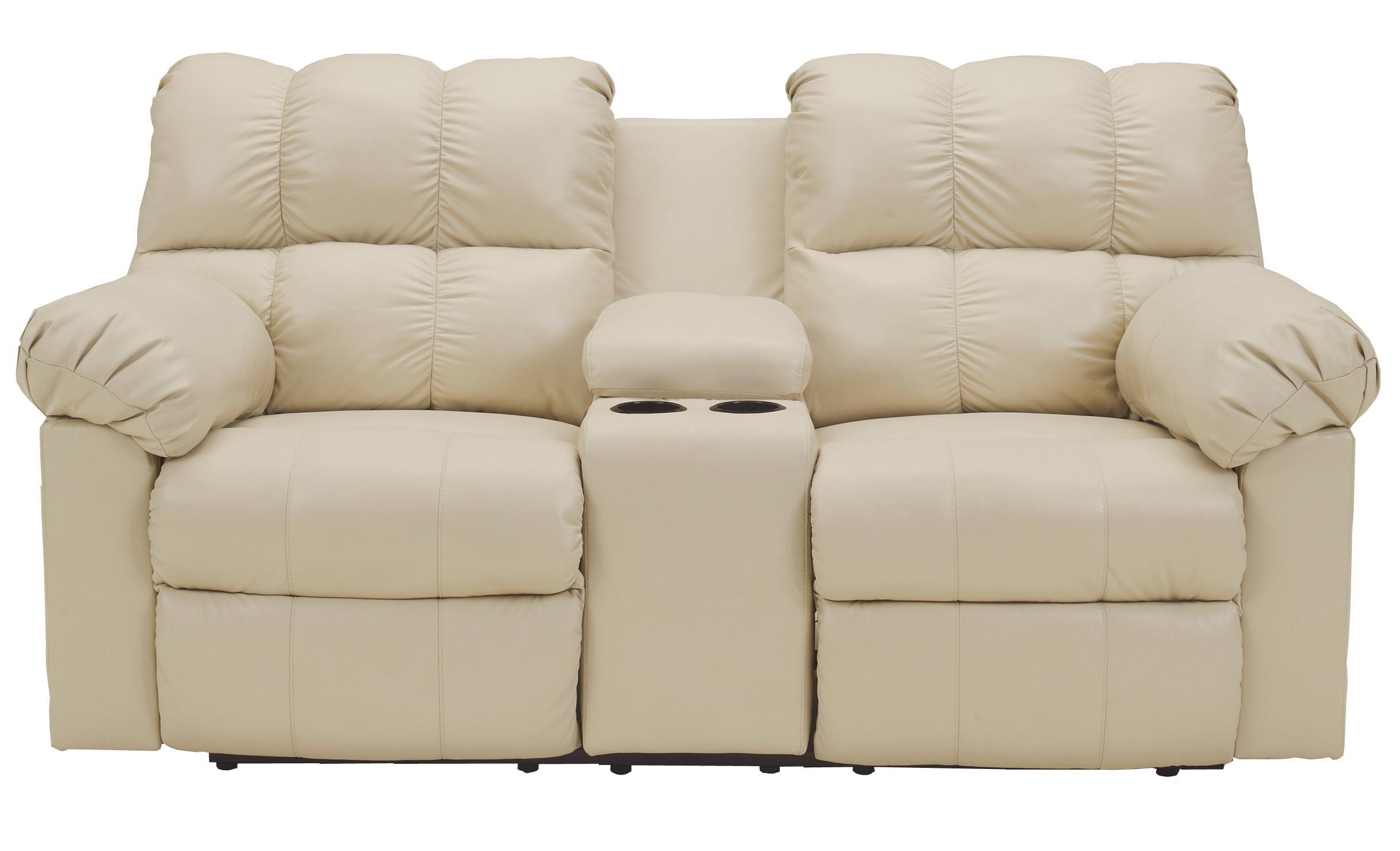 Signature Design by Ashley Kennard - Cream Dbl Rec Love Seat w/Console - Item Number: 2900294