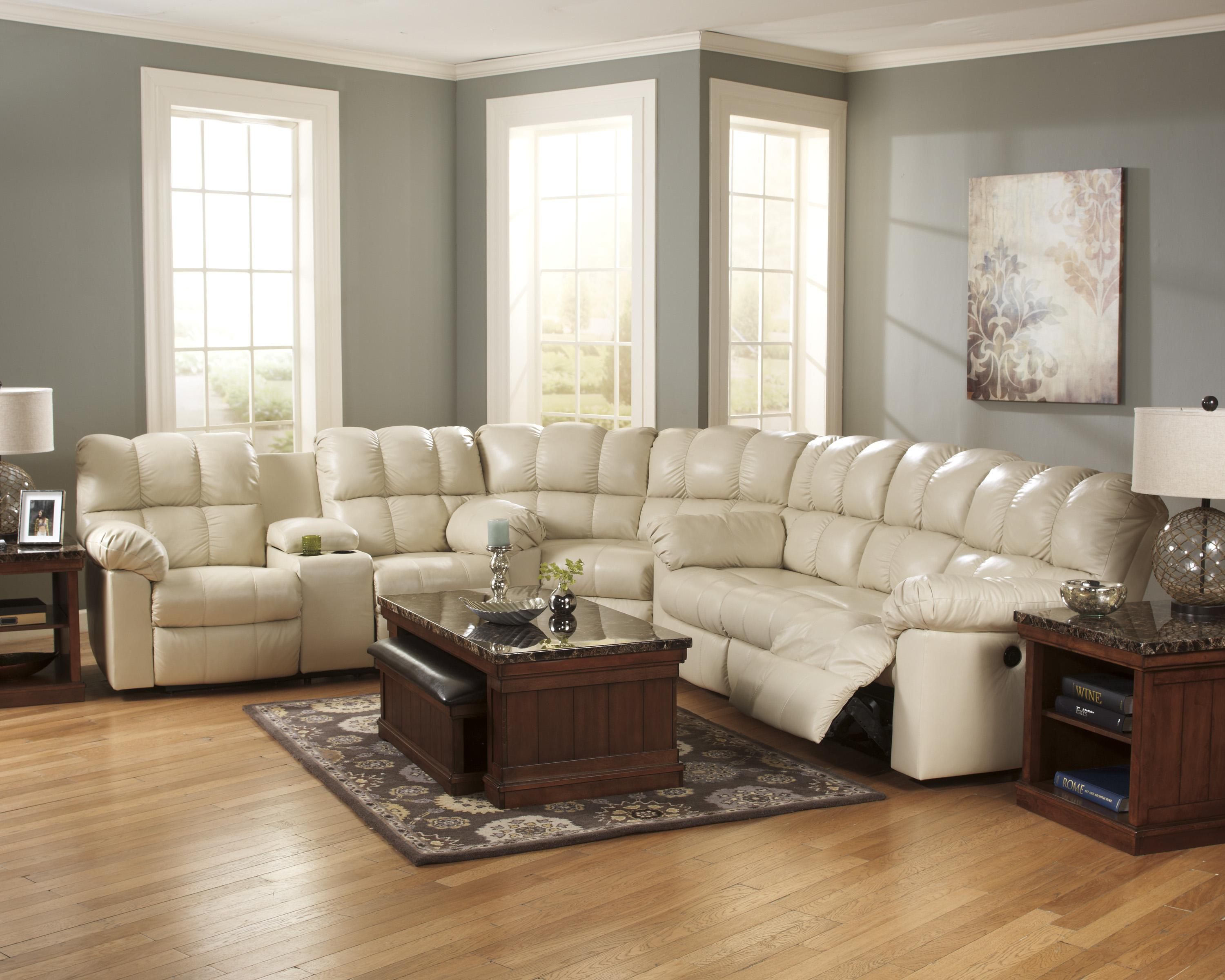 Signature Design by Ashley Kennard Cream Reclining Sectional