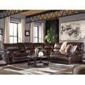 Signature Design by Ashley Killamey Casual 6-Piece Power Reclining Sectional with Left Arm Facing Zero Wall Power Recliner