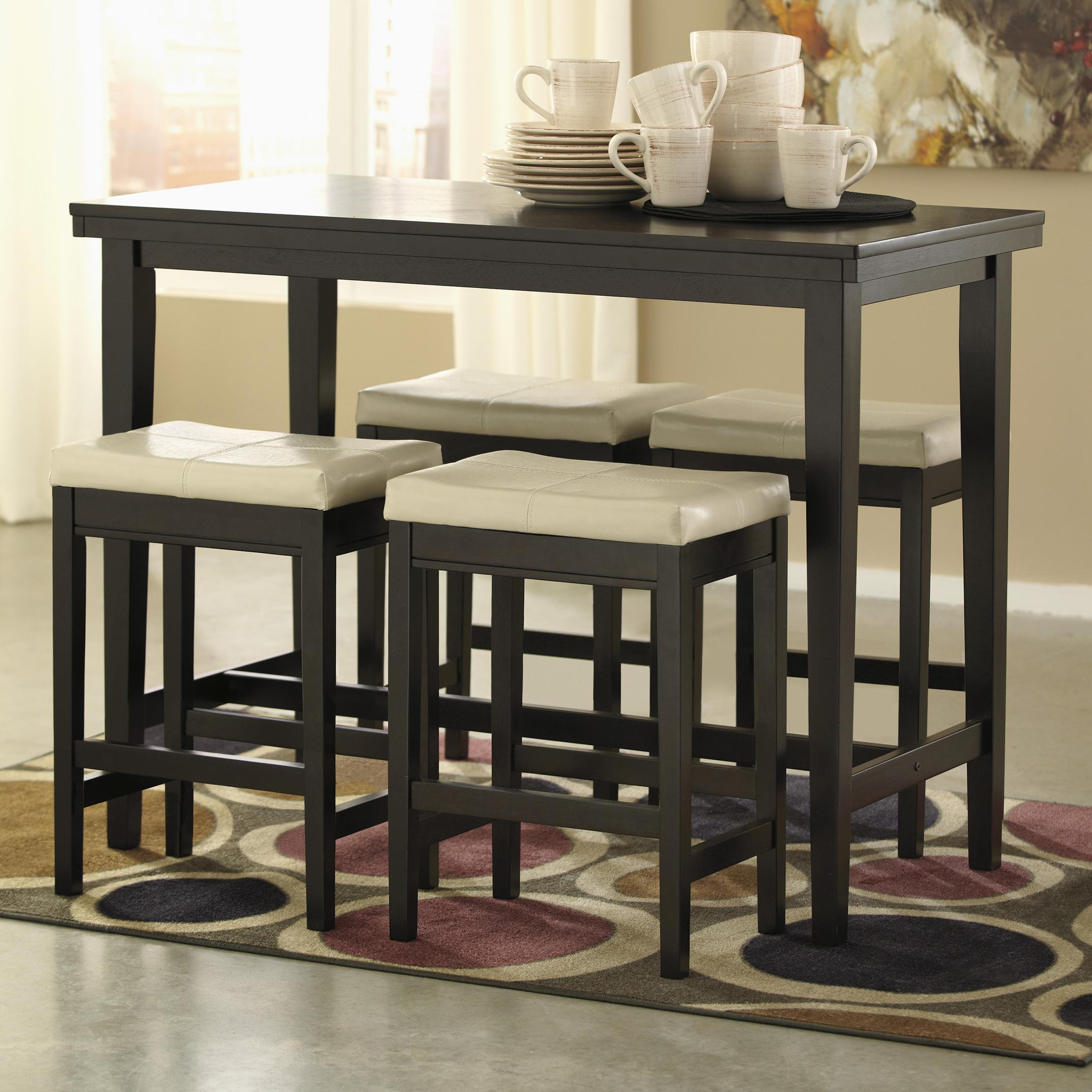 Signature Design by Ashley Kimonte 5-Piece Counter Table Set with Stools - Item Number: D250-13+4x124