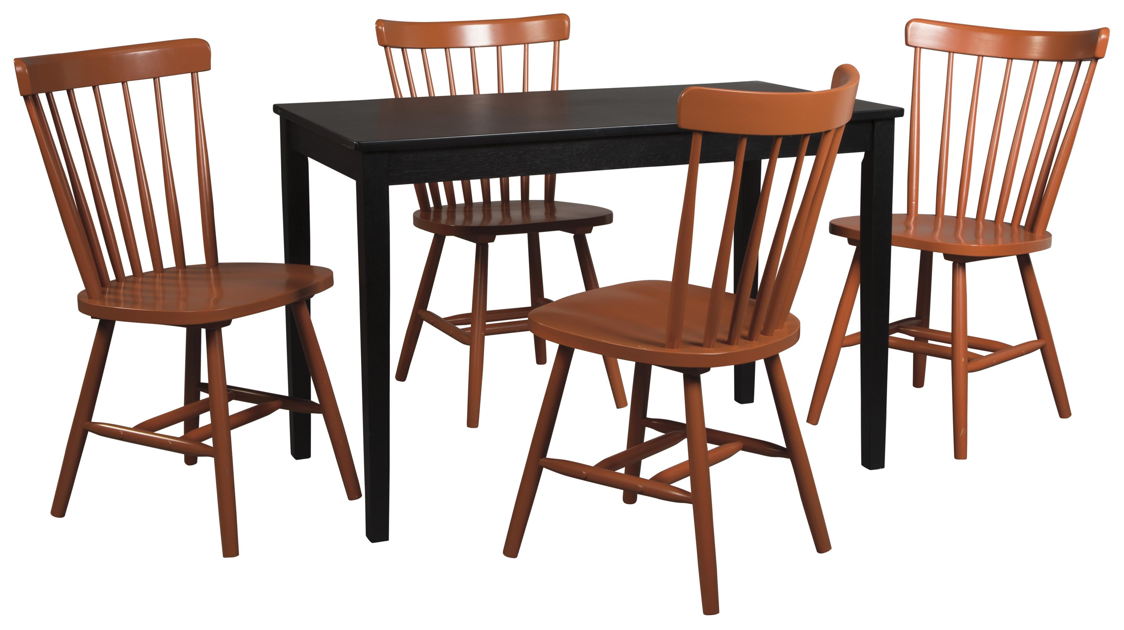 Signature Design by Ashley Kimonte 5-Piece Rectangular Table Set - Item Number: D250-25+4xD389-03