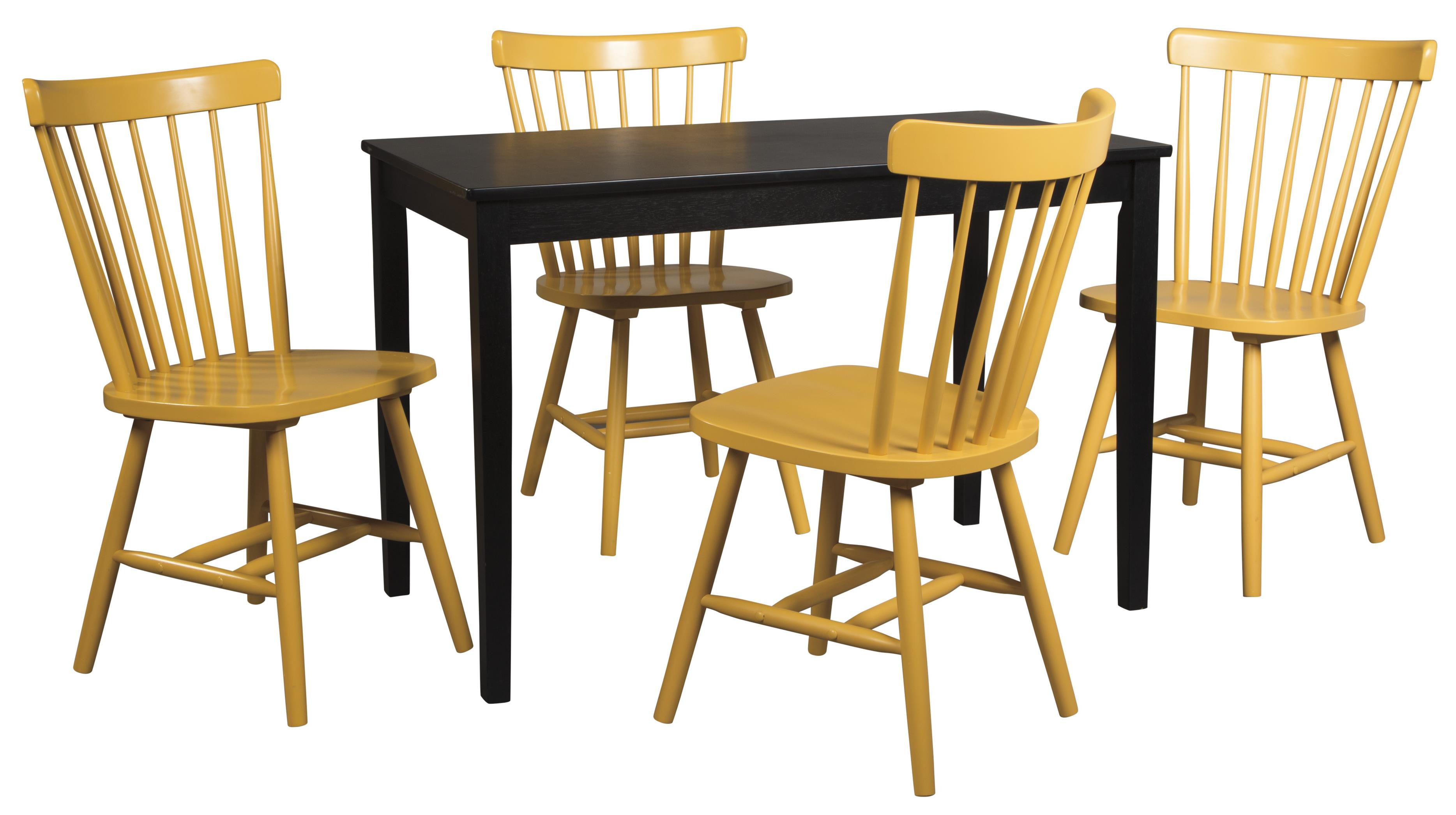 Signature Design by Ashley Kimonte 5-Piece Rectangular Table Set - Item Number: D250-25+4xD389-04