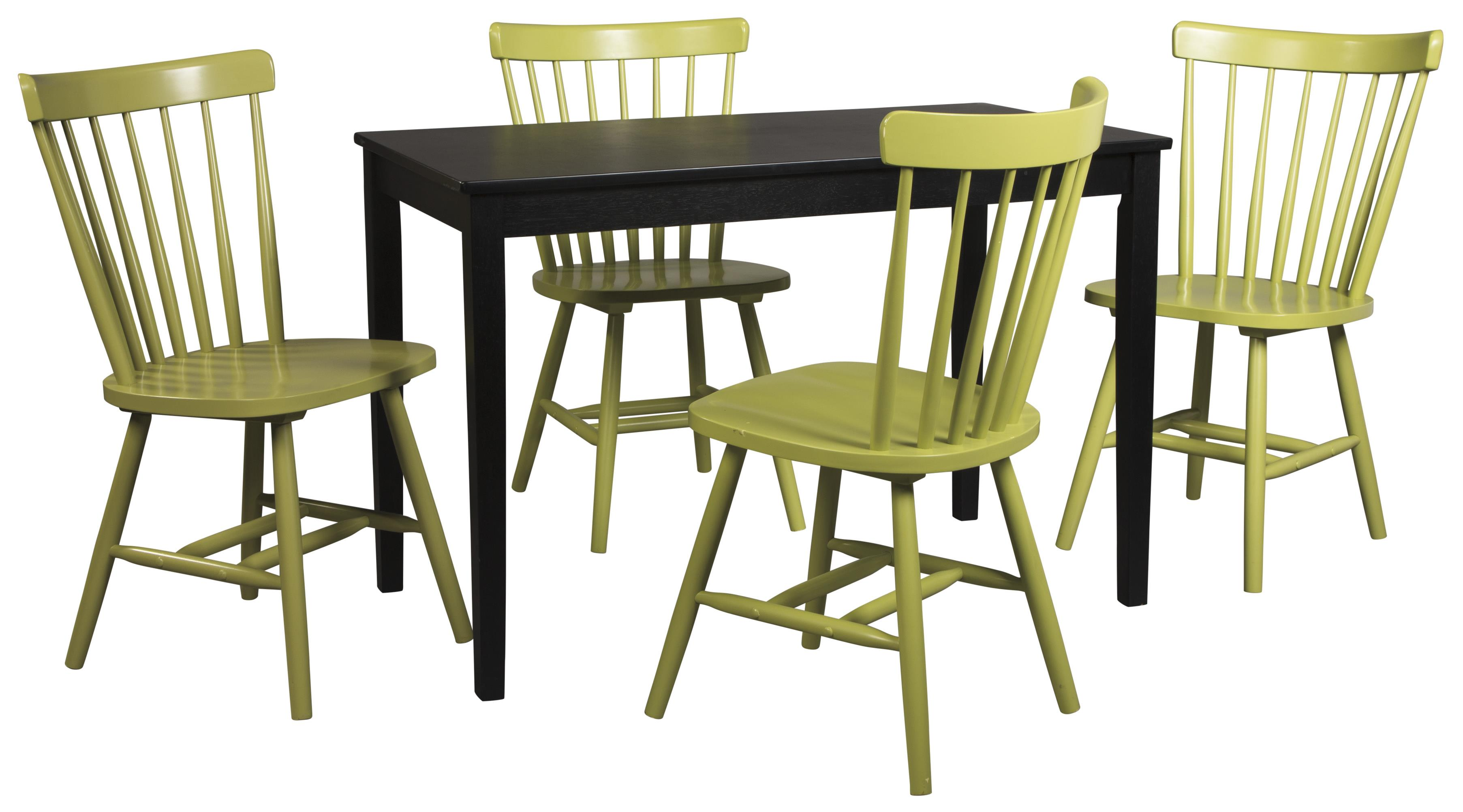 Signature Design by Ashley Kimonte 5-Piece Rectangular Table Set - Item Number: D250-25+4xD389-05
