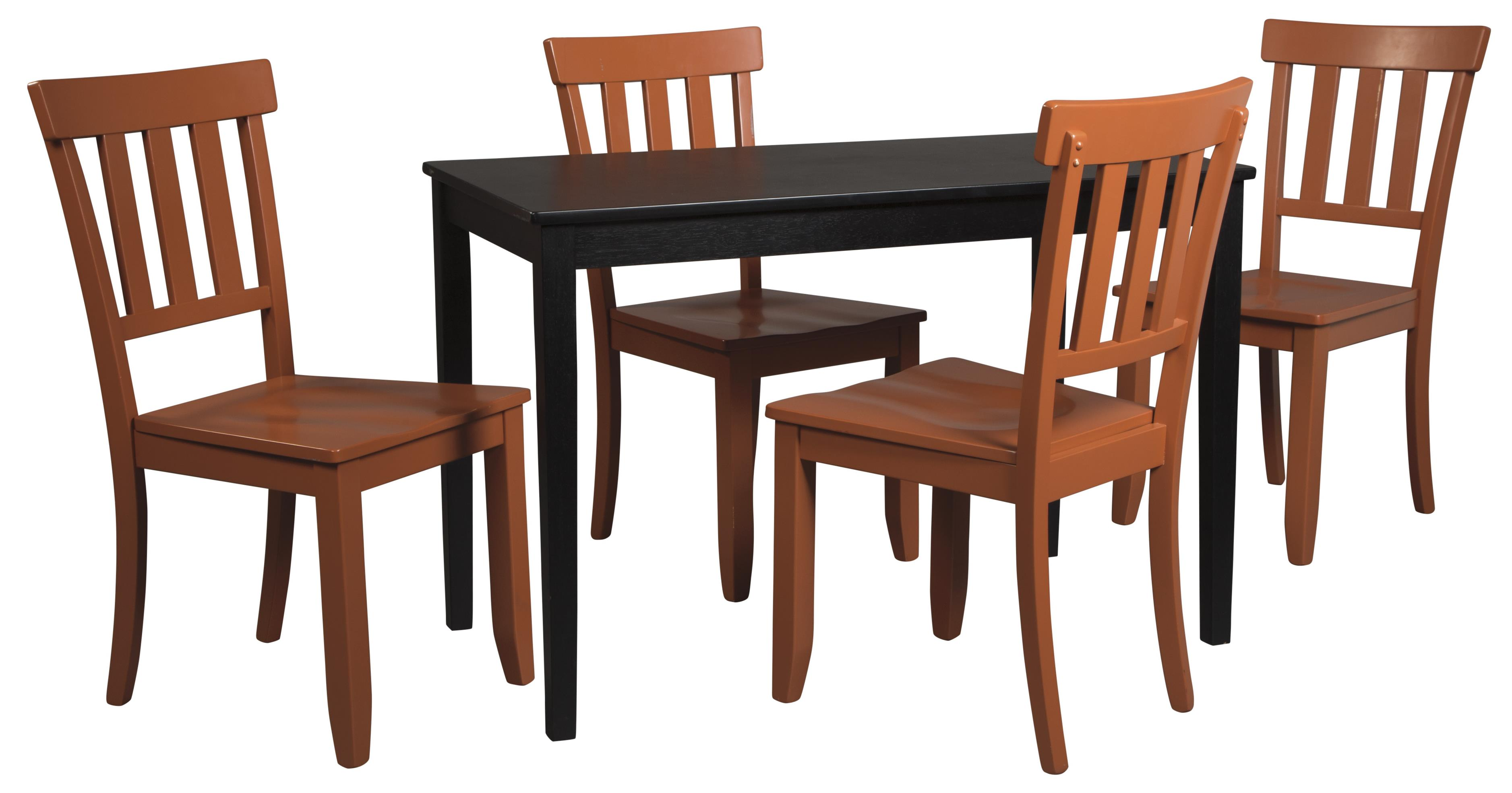 Signature Design by Ashley Kimonte 5-Piece Rectangular Table Set - Item Number: D250-25+4xD389-07