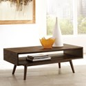 Signature Design by Ashley Kisper Mid-Century Modern Rectangular Cocktail Table with Open Shelf