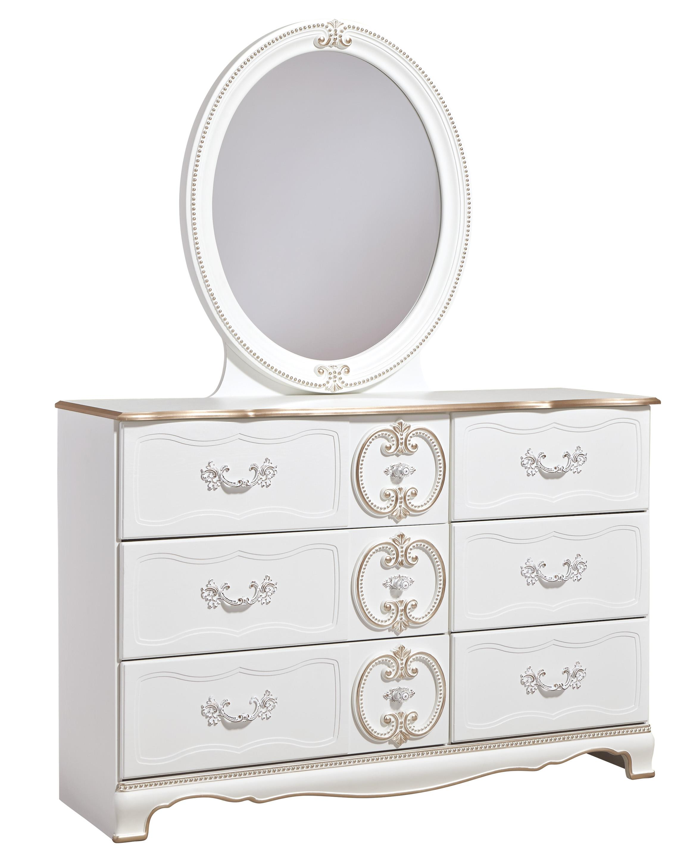 Signature Design by Ashley Korabella Dresser & Bedroom Mirror - Item Number: B355-21+26