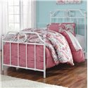 Signature Design by Ashley Korabella Full Metal Bed with Scrolling and Rose Gold Color Highlights - Twin Size Bed Shown.
