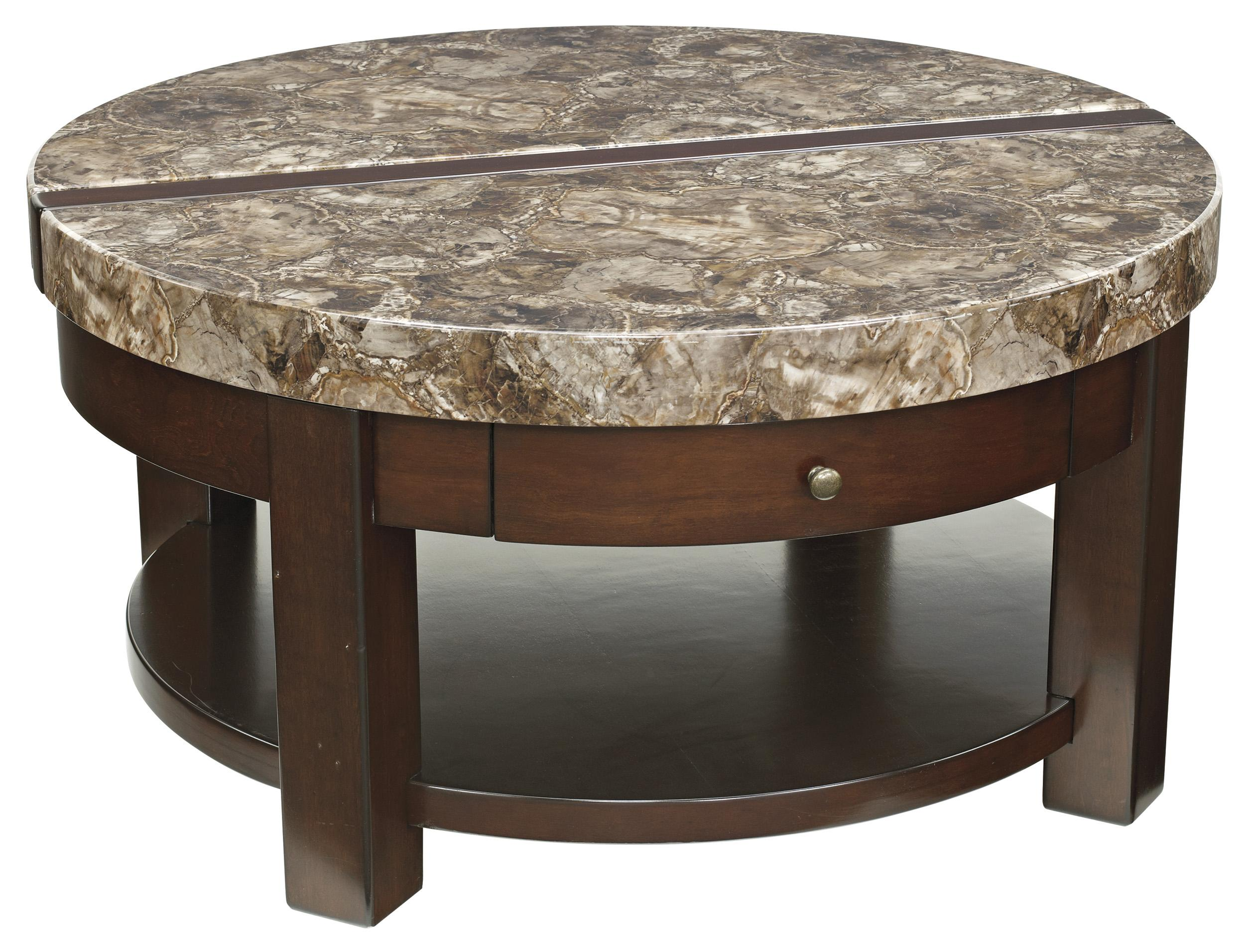 Ashley Signature Design Kraleene T687 8 Round Lift Top Cocktail Table With Drawer Shelf Dunk