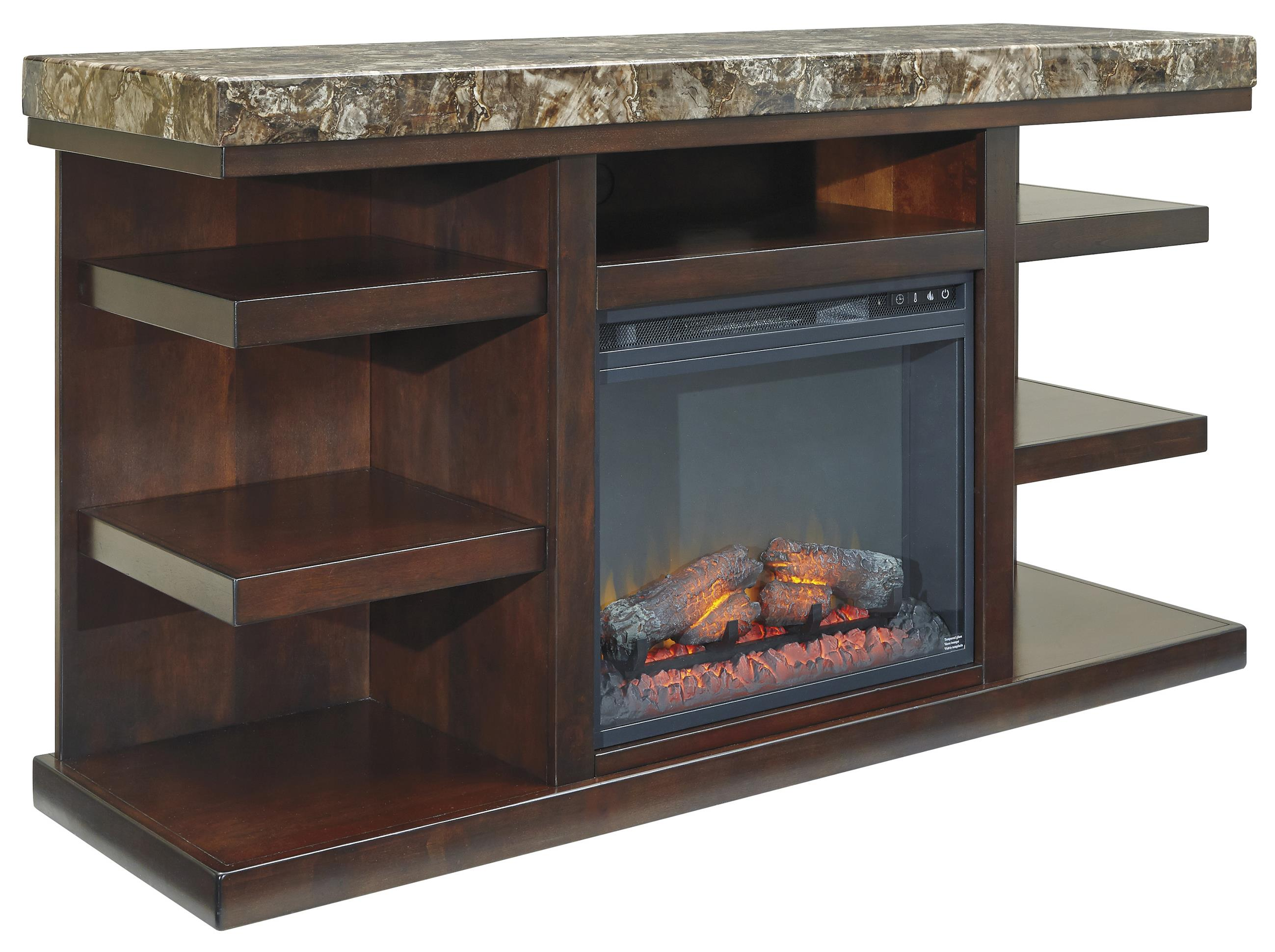 Signature Design by Ashley Kraleene Large TV Stand with Fireplace Insert - Item Number: W687-68+W100-01