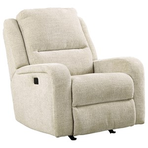Signature Design by Ashley Krismen Power Rocker Recliner w/ Adjustable Headrest