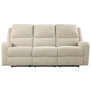 Signature Design by Ashley Krismen Power Reclining Sofa w/ Adjustable Headrest