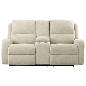 Signature Design by Ashley Krismen Pwr Rec Loveseat w/ Console & Adj. Headrest