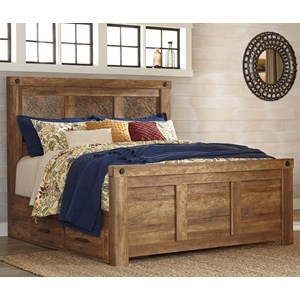 Signature Design by Ashley Ladimier King Mansion Bed with Under Bed Storage