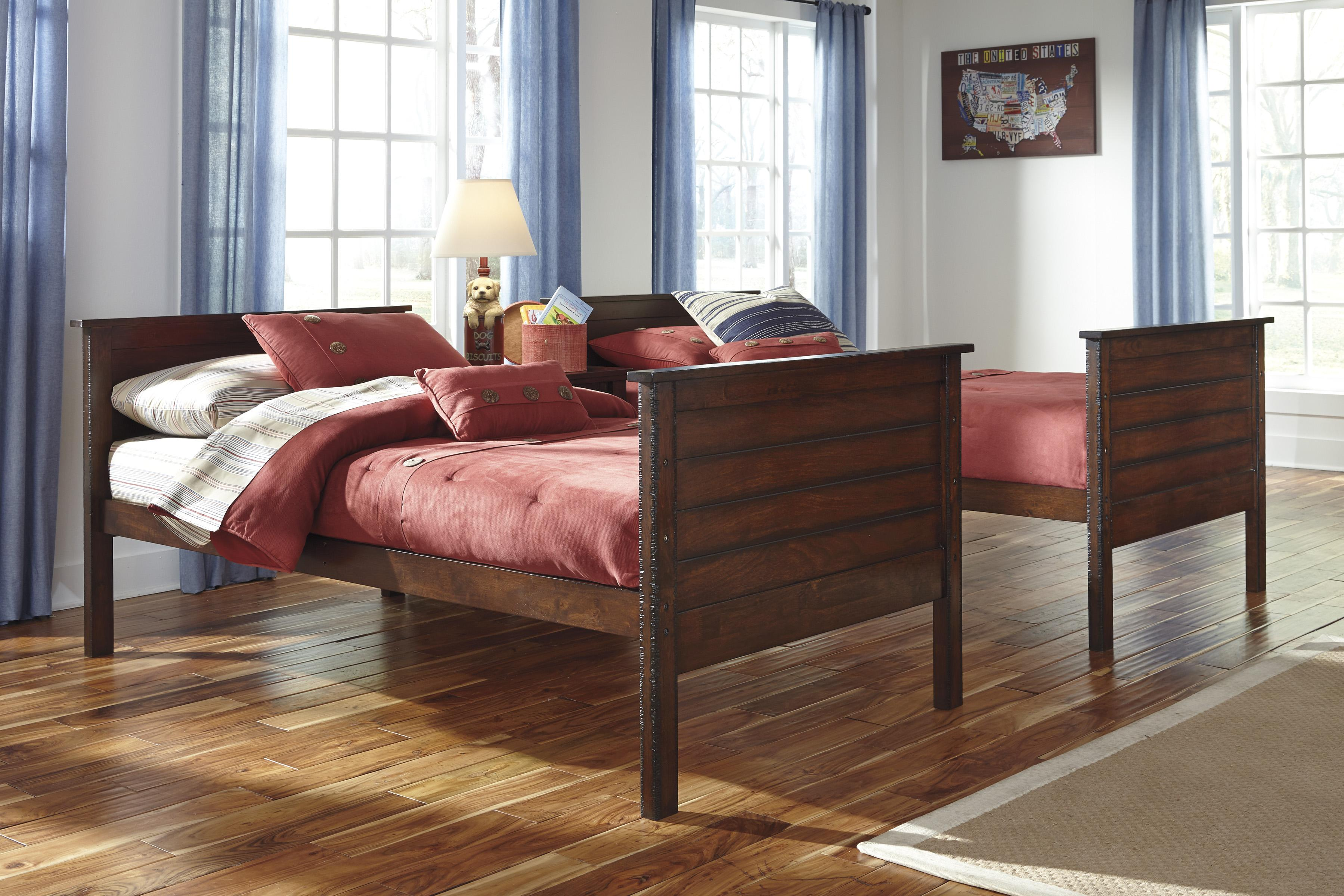 Signature Design By Ashley Ladiville Rustic Twin Twin Bunk Bed Becker Furniture World Bunk Bed