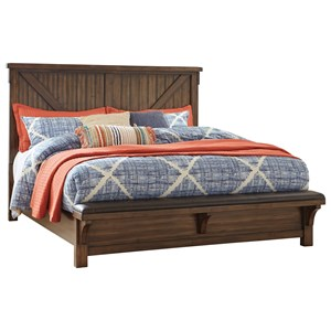 Queen Panel Bed with Footboard Bench