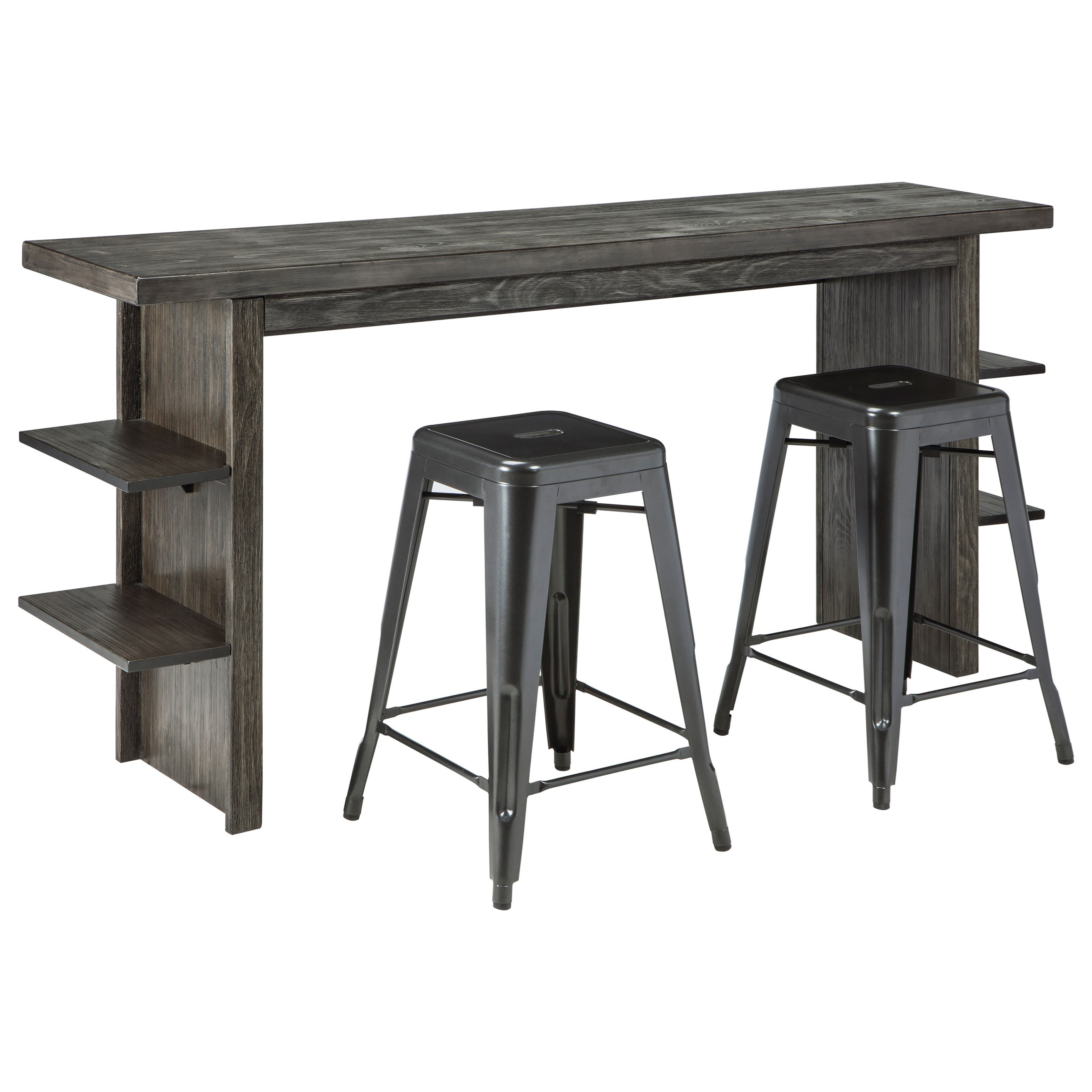 Signature Design by Ashley Lamoille Long Counter Table and Barstool Set - Item Number: D639-33+2xD542-024