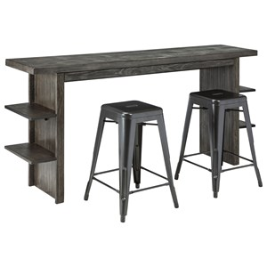 Signature Design by Ashley Lamoille Long Counter Table and Barstool Set