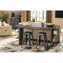 Signature Design by Ashley Lamoille Contemporary Long Counter Table with 4 Shelves
