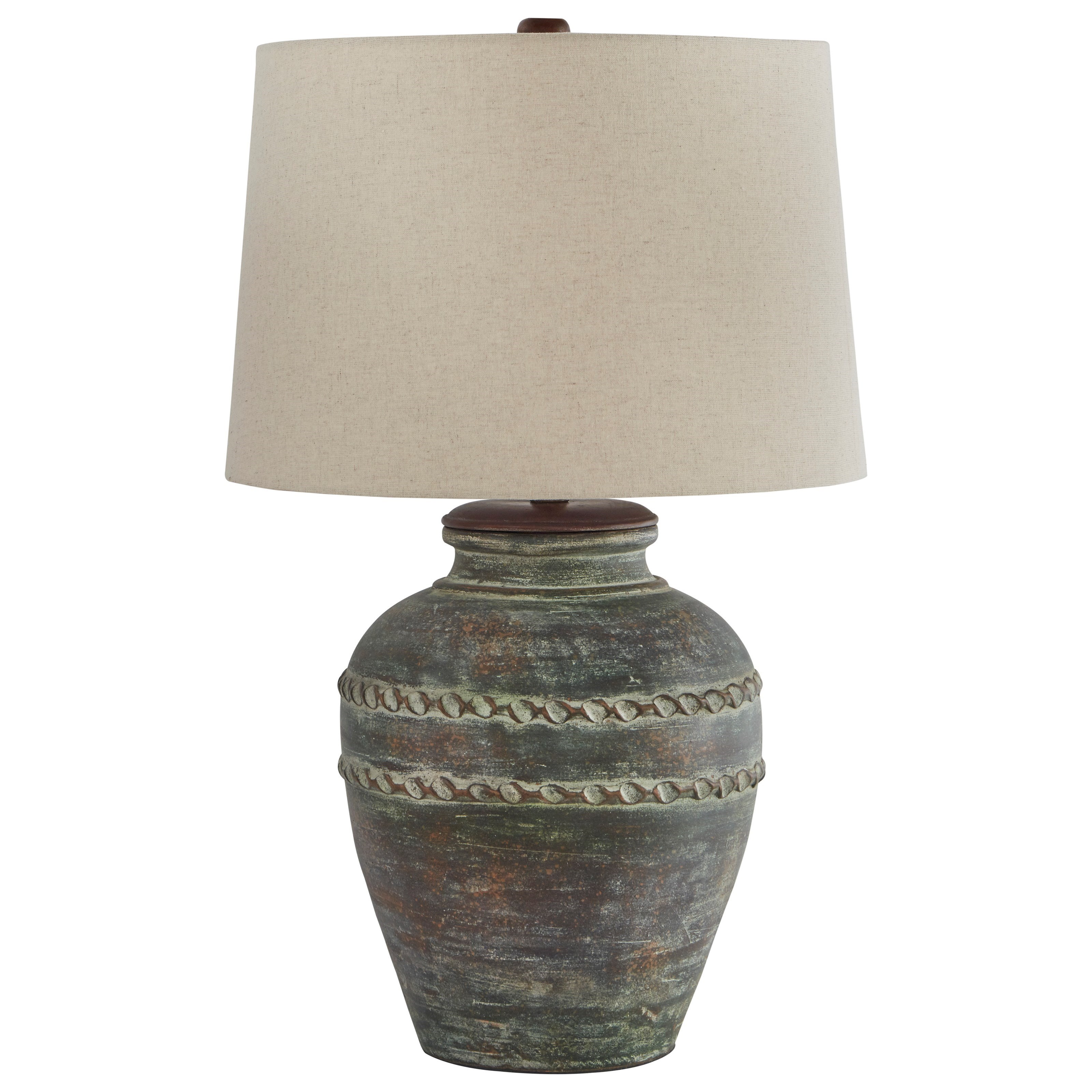 Lamps - Casual Mairead Green Terracotta Table Lamp by Ashley (Signature Design) at Johnny Janosik
