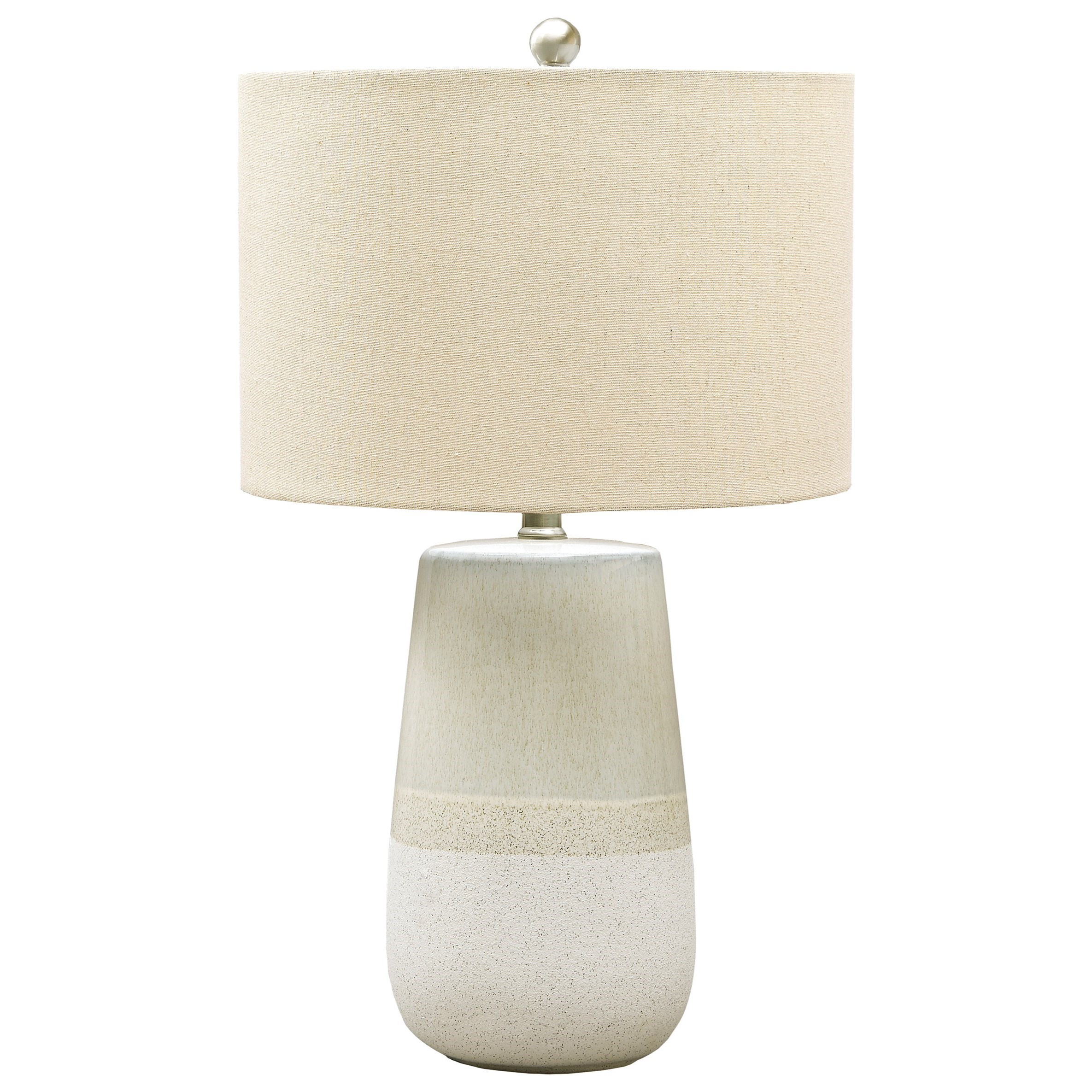 Lamps - Casual Shavon Beige/White Ceramic Table Lamp by Signature Design by Ashley at HomeWorld Furniture
