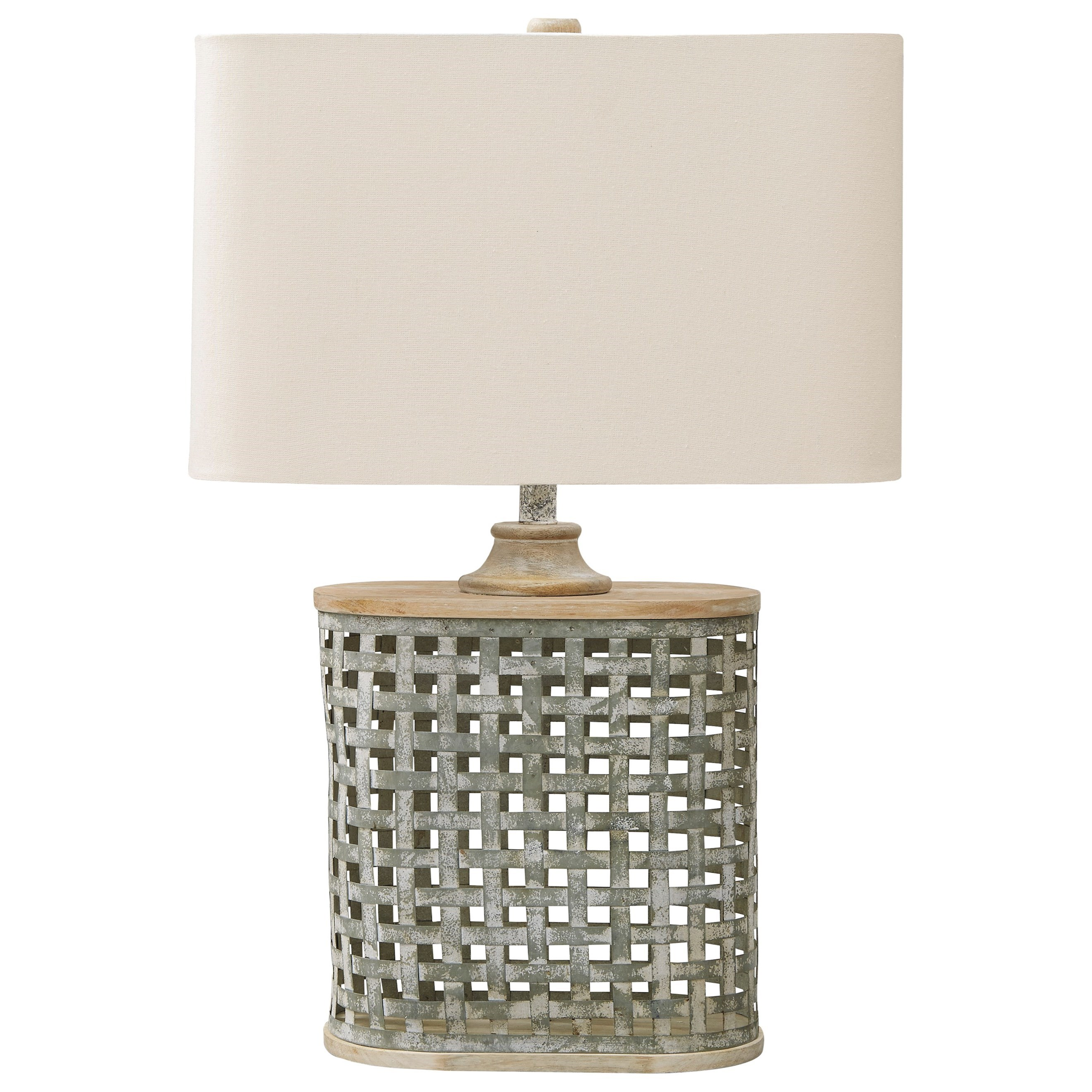 Lamps - Casual Deondra Gray Metal Table Lamp by Ashley (Signature Design) at Johnny Janosik