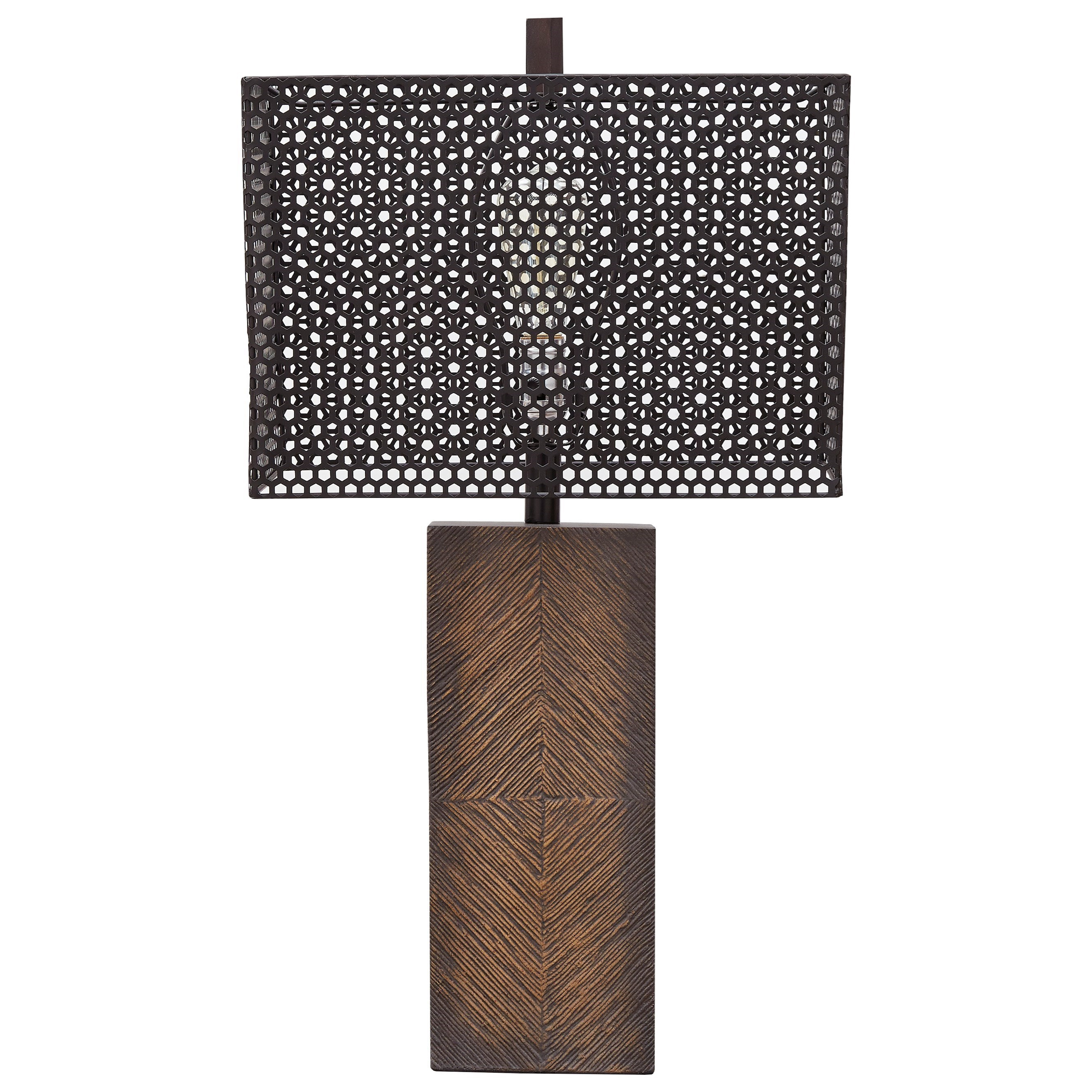 Lamps - Casual Briek Brown Paper Table Lamp by Ashley (Signature Design) at Johnny Janosik