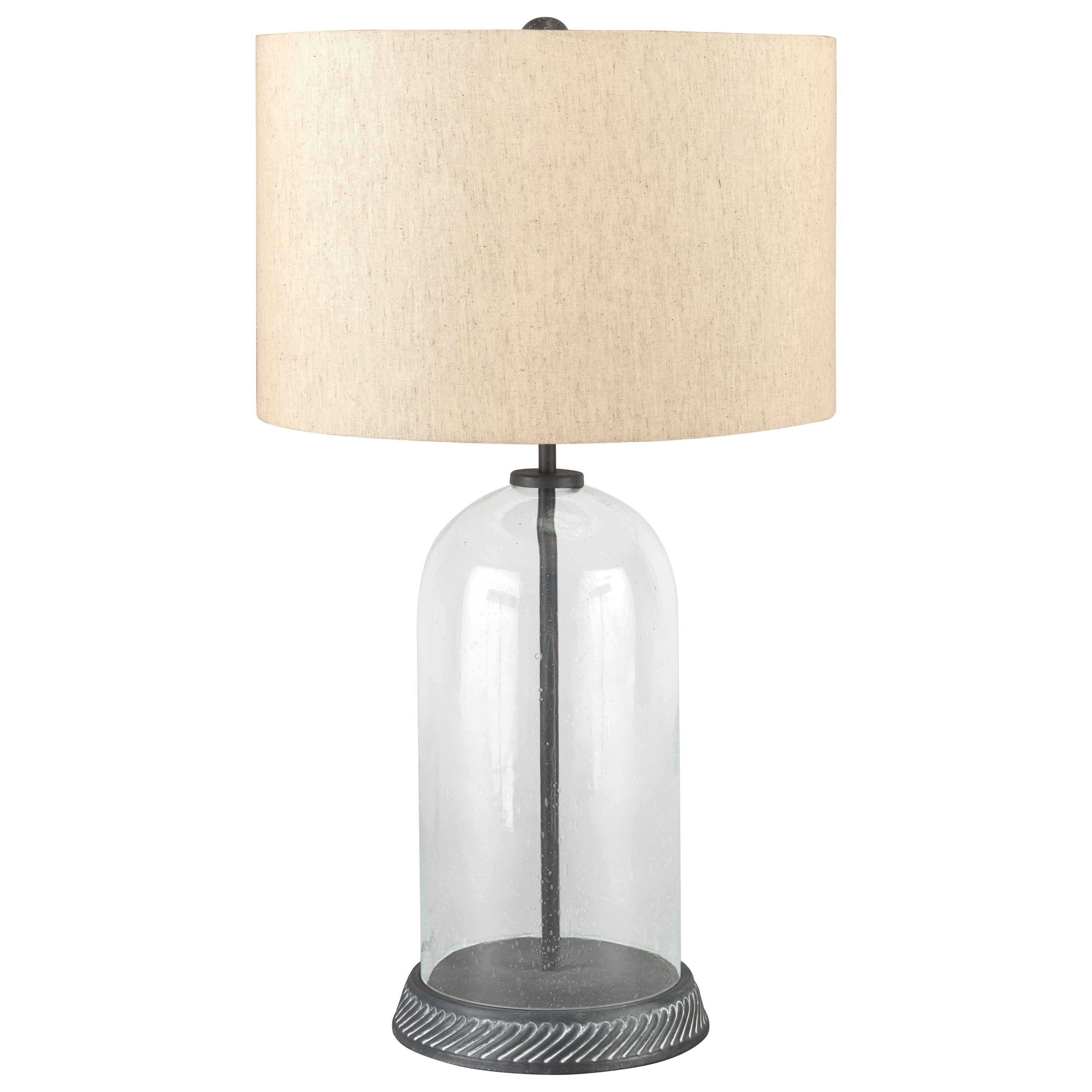 Lamps - Casual Manelin Clear/Gray Glass Table Lamp by Ashley (Signature Design) at Johnny Janosik