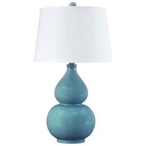 Signature Design by Ashley Lamps - Contemporary Saffi Light Blue Ceramic Table Lamp
