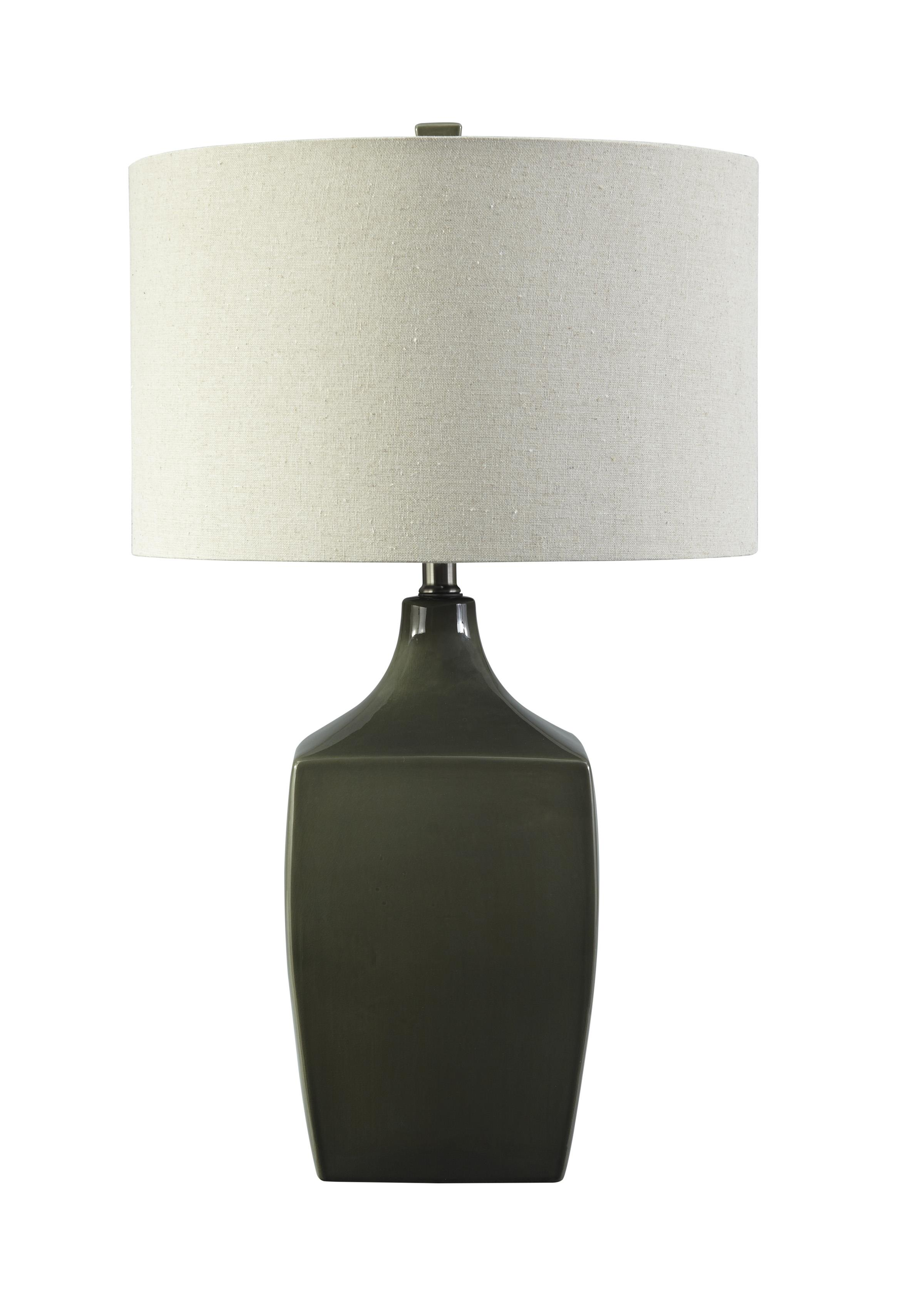 Signature Design by Ashley Lamps - Contemporary Sheaon - Dark Green Ceramic Table Lamp - Item Number: L100334