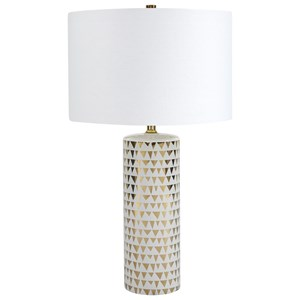 Signature Design by Ashley Lamps - Contemporary Alejandra Gold Finish/White Table Lamp