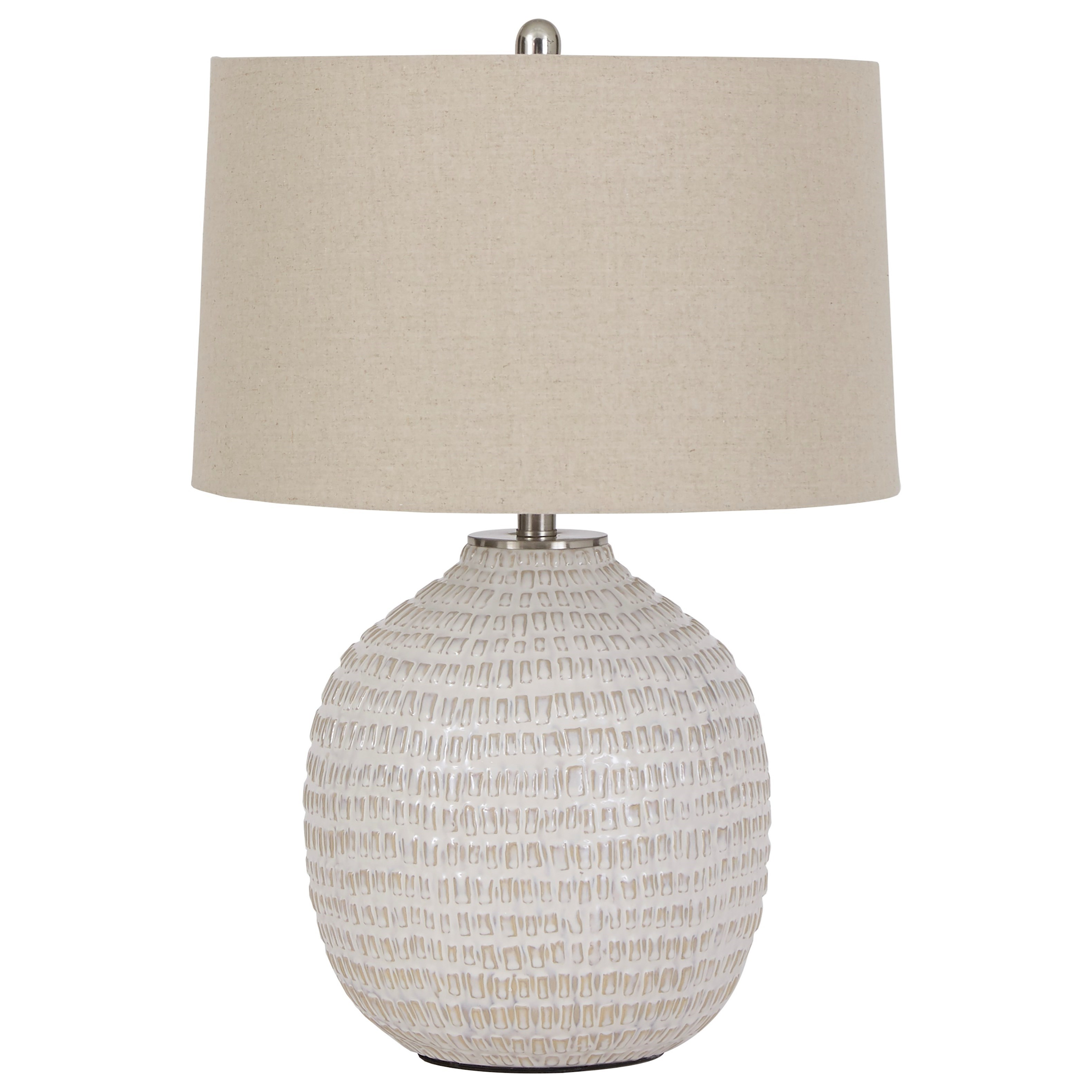 Lamps - Contemporary Jamon Beige Ceramic Table Lamp by Ashley (Signature Design) at Johnny Janosik