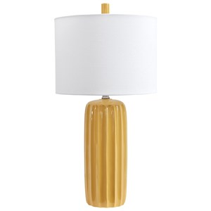 Signature Design by Ashley Lamps - Contemporary Set of 2 Adorlee Yellow Ceramic Table Lamps
