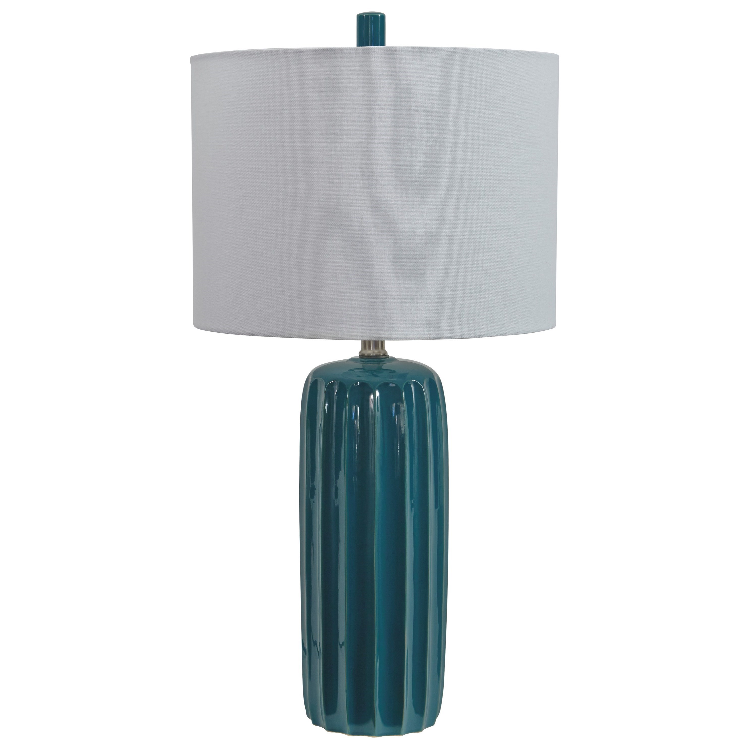 Signature Design by Ashley Lamps - Contemporary Set of 2 Adorlee Teal Ceramic Table Lamps ...