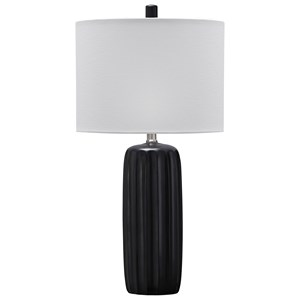 Signature Design by Ashley Lamps - Contemporary Set of 2 Adorlee Black Ceramic Table Lamps