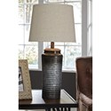 Signature Design by Ashley Lamps - Contemporary Set of 2 Norbert Gray Metal Table Lamps