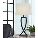 Signature Design by Ashley Lamps - Contemporary Set of 2 Makara Black/Brown Metal Table Lamps
