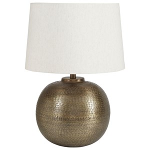 Ashley Signature Design Lamps - Contemporary Darva Antique Brass Finish Metal Table Lamp