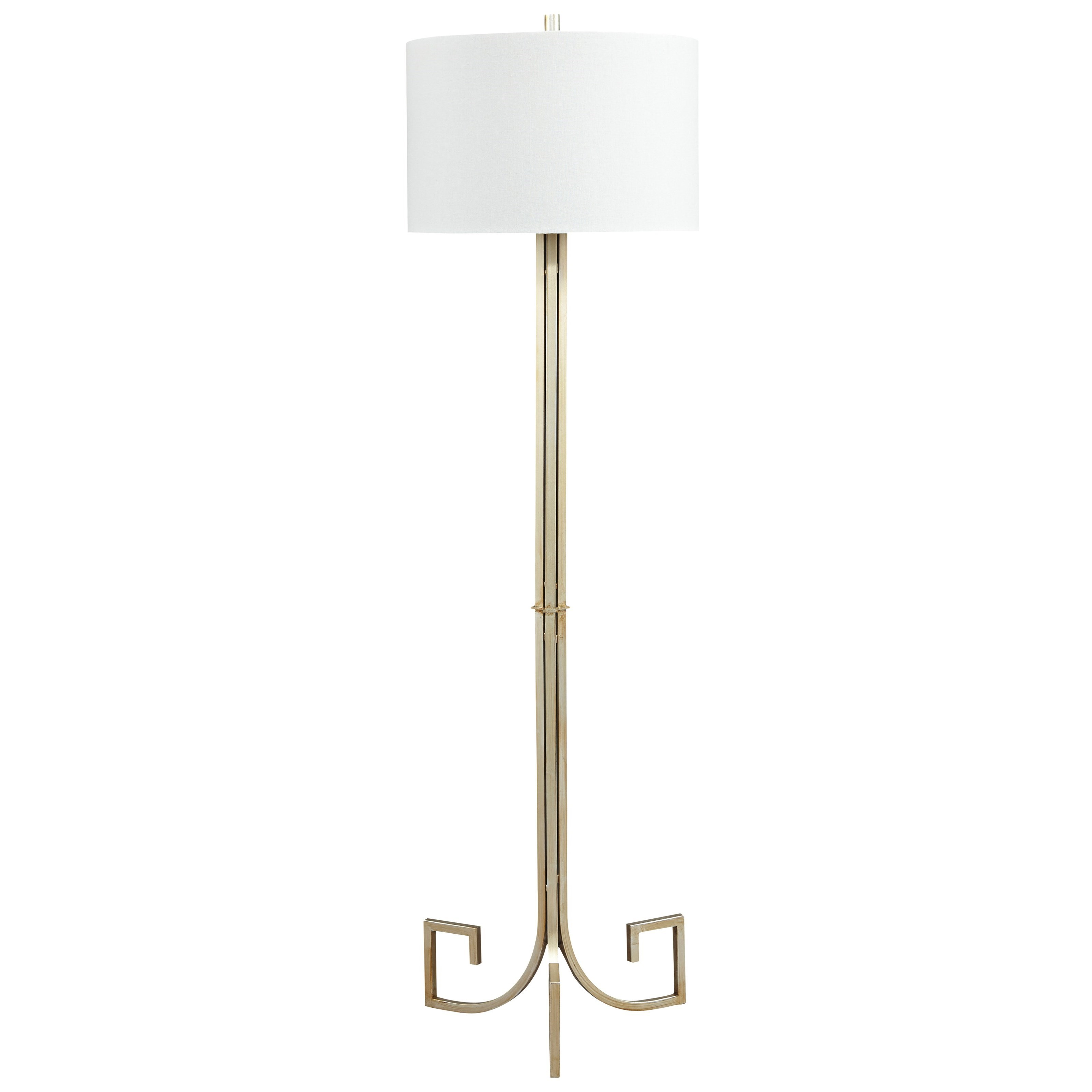 Signature Design by Ashley Lamps - Contemporary Jankin Champagne Finish Metal Floor Lamp - Item Number: L207121