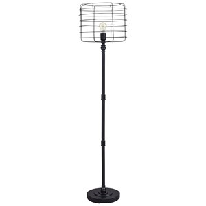 Signature Design by Ashley Lamps - Contemporary Javan Antique Black Metal Floor Lamp
