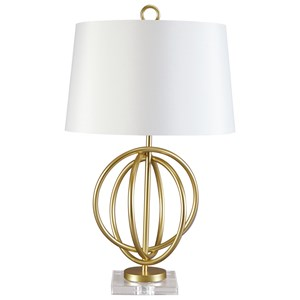 Signature Design by Ashley Lamps - Contemporary Axi Gold Finish Metal Table Lamp