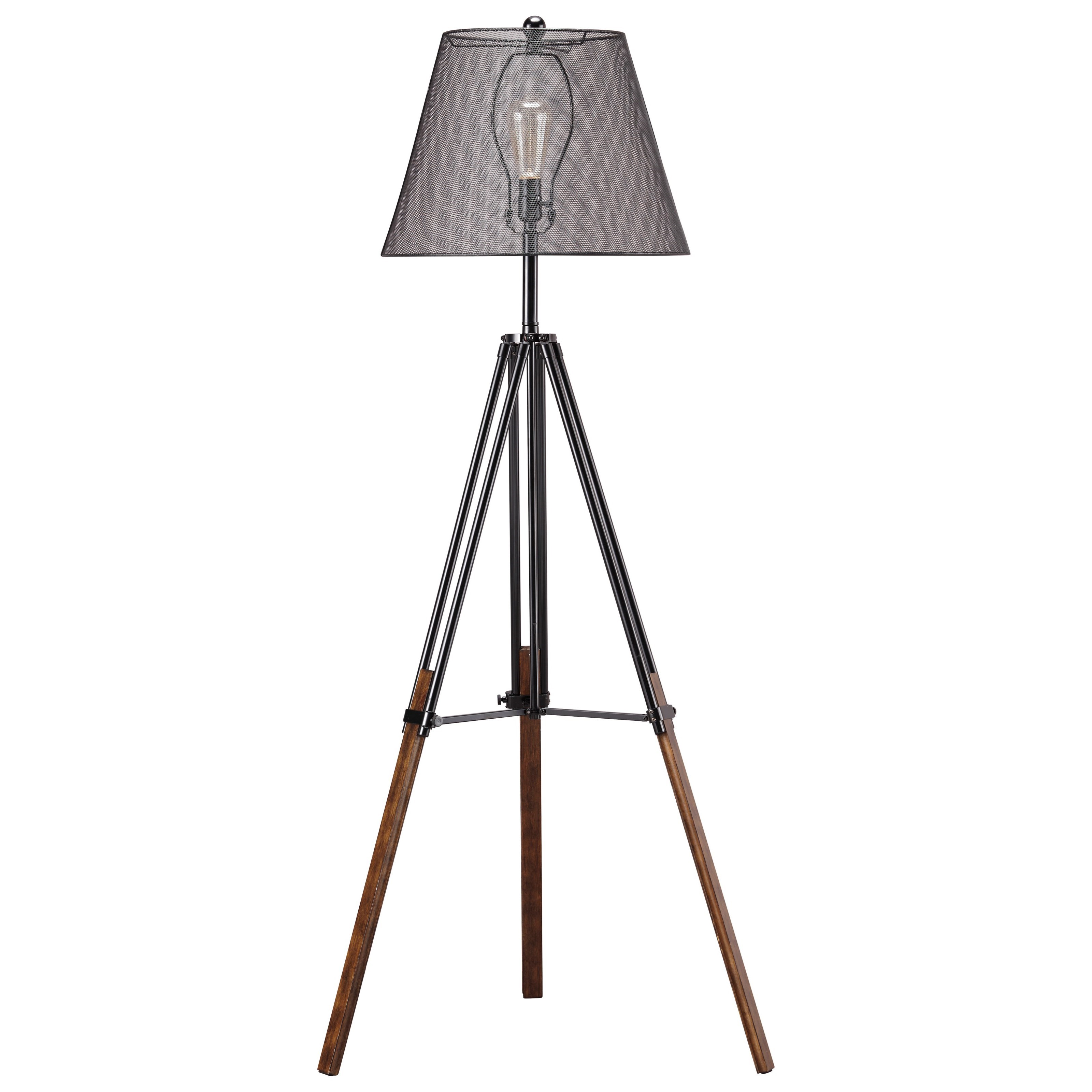 Trendz Lamps - Contemporary Leolyn Black/Brown Metal Floor Lamp - Item Number: L207991