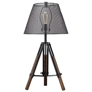 Signature Design by Ashley Lamps - Contemporary Leolyn Black/Brown Metal Table Lamp