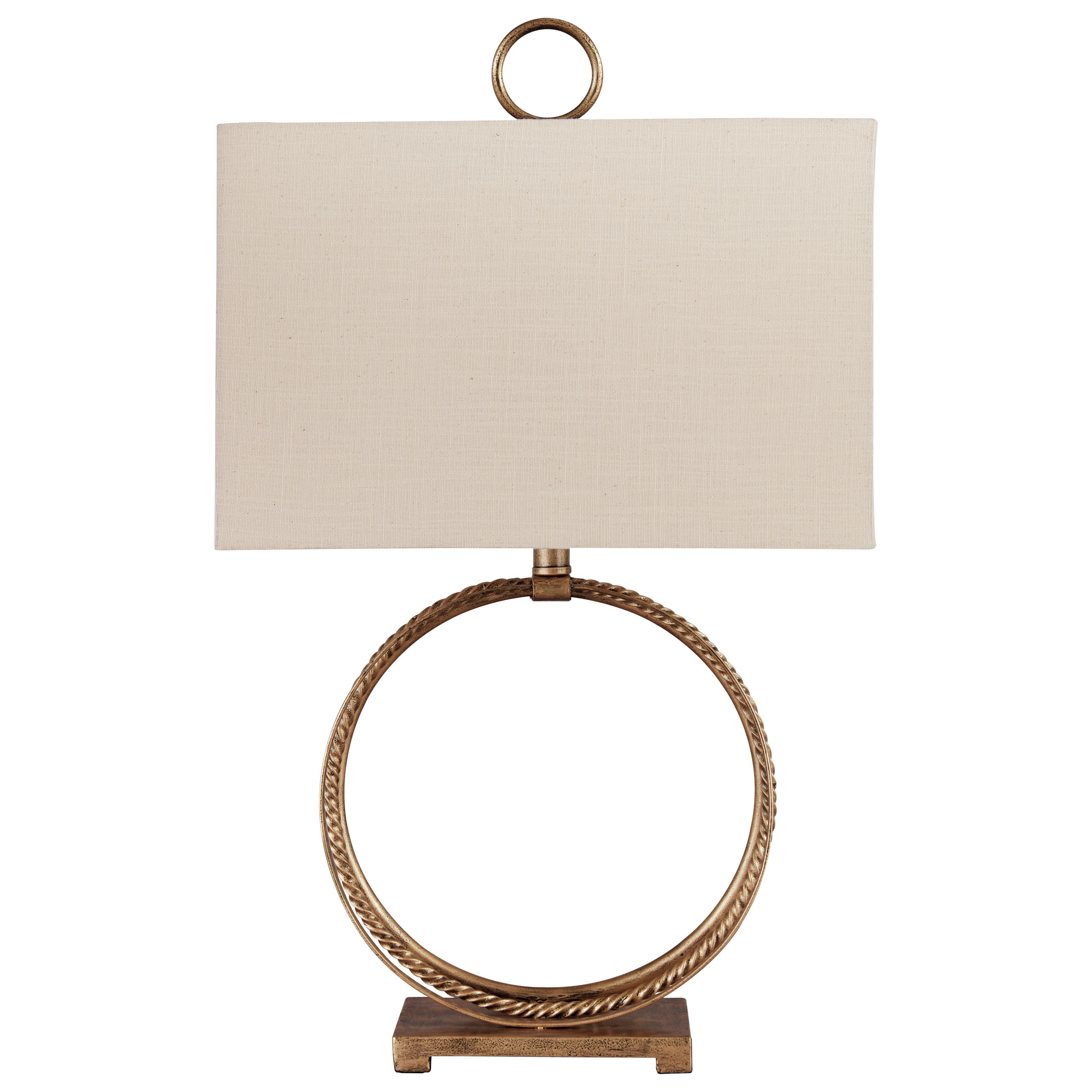 Lamps - Contemporary Mahala Antique Gold Metal Table Lamp by Ashley (Signature Design) at Johnny Janosik