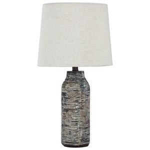 Signature Design by Ashley Lamps - Contemporary Set of 2 Mahima Black/White Table Lamps