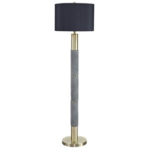 Signature Design by Ashley Lamps - Contemporary Jacek Gray/Brass Finish Poly Floor Lamp