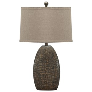 Signature Design by Ashley Lamps - Contemporary Melvin Tan Poly Table Lamp